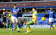Nikola Zigic has a shot during the Sky Bet Championship match between Birmingham City and Norwich City at St Andrews, Birmingham, England on 31 January 2015. Photo by Alan Franklin.