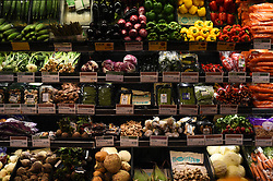 A view of vegetables in a Whole Foods Market shop in London.