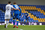 AFC Wimbledon midfielder George Dobson (24) dribbling and about to cross the ball during the EFL Sky Bet League 1 match between AFC Wimbledon and Milton Keynes Dons at Plough Lane, London, United Kingdom on 30 January 2021.