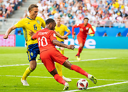 July 7, 2018 - Samara, Russia - 180707 Ludwig Augustinsson of Sweden and Raheem Sterling of England competes for the ball during the FIFA World Cup quarter final match between Sweden and England on July 7, 2018 in Samara..Photo: Petter Arvidson / BILDBYRÃ…N / kod PA / 92083 (Credit Image: © Petter Arvidson/Bildbyran via ZUMA Press)