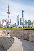 View of the futuristic cityscape of Lujiazui skyline seen from the Bund, Shanghai, China
