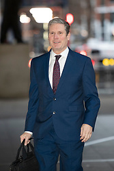 © Licensed to London News Pictures. 05/01/2020. London, UK. Shadow Brexit Secretary Sir Keir Starmer arrives at the BBC. Later he will appear on the Andrew Marr Show. Photo credit: George Cracknell Wright/LNP
