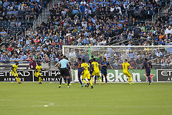 October 22, 2017 - New York, New York, United States - Goalkeeper Sean Johnson (1) of NYC FC saves during MLS regular game against Columbus Crew SC at Citi Field Game ended in draw 2 - 2  (Credit Image: © Lev Radin/Pacific Press via ZUMA Wire)