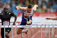 Andrew Pozzi competing in the Men's 110m Hurdles race.The British Championships 2016, athletics event at the Alexander Stadium in Birmingham, Midlands  on Sunday 26th June 2016.<br /> pic by John Patrick Fletcher, Andrew Orchard sports photography.