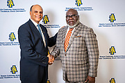 Chancellor Harold L. Martin Sr. with master communicator, multidimensional businessman and international thought leader T.D. Jakes at North Carolina Agricultural and Technical State University's spring Chancellor's Speaker Series on Thursday, April 11, 2019.<br /> <br /> <br /> (Chris English/Tigermoth Creative)