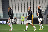 Juventus's Italian midfielder Federico Bernardeschi, Argentinian striker Paulo Dybala and Portuguese striker Cristiano Ronaldo enter the field of play for the Serie A match at Allianz Stadium, Turin. Picture date: 26th June 2020. Picture credit should read: Jonathan Moscrop/Sportimage
