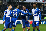 Goal - Josh Ginnelly (14) of Bristol Rovers celebrates scoring a goal to make the score 2-1 during the EFL Sky Bet League 1 match between Bristol Rovers and Blackpool at the Memorial Stadium, Bristol, England on 15 February 2020.