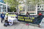 Animal Rebellion staged a party protest outside of the Home Office, in Marsham Street, central London on Wednesday, Sept 9, 2020 - to highlight their resistance against animal slaughter. Environmental nonviolent activists group Extinction Rebellion enters its 9th day of continuous ten days protests to disrupt political institutions throughout peaceful actions swarming central London into a standoff, demanding that central government obeys and delivers Climate Emergency bill. (VXP Photo/ Vudi Xhymshiti)