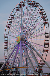 The boardwalk ferris wheel at sunset after a day of beach racing at TROG (The Race Of Gentlemen). Wildwood, NJ. USA. Saturday June 9, 2018. Photography ©2018 Michael Lichter.