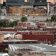 Kauffman Center Construction in June 2010 behind Kansas City's Union Station