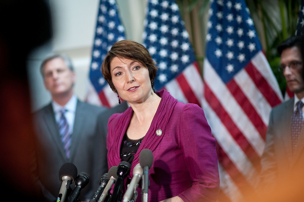 Rep. Cathy McMorris Rodgers (R-WA) addresses reporters during a press conference after a caucus meeting on the debt ceiling on Tuesday, July 12, 2011 in Washington.  (Photo by Jay Westcott/Politico)