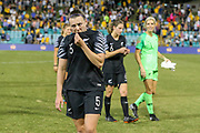 A dejected looking Meikayla Moore after the Cup of Nations Women's Football match, New Zealand Football Ferns v Matildas, Leichhardt Oval, Thursday 28th Feb 2019. Copyright Photo: David Neilson / www.photosport.nz