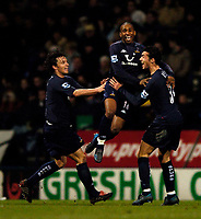 Fotball<br /> England 2004/2005<br /> Foto: SBI/Digitalsport<br /> NORWAY ONLY<br /> <br /> Bolton Wanderers v Tottenham Hotspurs, Barclays Premiership, 01/02/2005.<br /> Tottenham's Jermain Defoe (C) celebrates after scoring within minutes of coming on as a substitute.