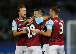 Mauro Zarate of West Ham United (C) celebrates scoring his sides first goal  - Mandatory byline: Jack Phillips/JMP - 07966386802 - 22/09/2015 - SPORT - FOOTBALL - Leicester - King Power Stadium - Leicester City v West Ham United - Capital One Cup Round 3