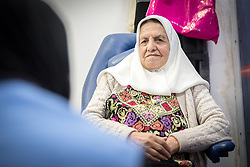 26 February 2020, Abu Dis, Palestine: 87-year-old Diabetes patient Hamama Jaffal from Abu Dis visits the Augusta Victoria Hospital's Mobile Diabetes Clinic. In an effort to make Diabetes services more accessible to people in the West Bank, the Augusta Victoria Hospital offers a Mobile Diabetes Clinic, which moves around to various locations in the West Bank, offering screening and routine testing for Diabietes and the symptoms it causes.