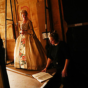 Performer Sarah Tynan is talks with Stage Manager  Rosie Davis backstage of a performance of the Barber of Seville at the English National Opera in London, Britain, 30 October 2017.  English National Opera (ENO) is an opera company based in London. It is one of the two principal opera companies in London. English National Opera traces its roots back to 1931 when Lilian Baylis established the Sadler's Wells Opera Company at the newly re-opened the Sadler's Wells Theatre. Baylis had been presenting opera concerts and theatre in London since 1898 and was passionate about providing audiences with the best theatre and opera at affordable prices. ENO became the first British opera company to tour the United States, and the first major foreign opera company to tour what was then the Soviet Union.EPA-EFE/NEIL HALL