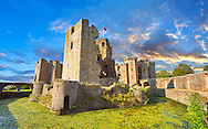Raglan Castle (Welsh: Castell Rhaglan) a late medieval castle built by Sir William Thomas in the mid 1400's. Raglan Castle , Monmouthshire, Wales .<br /> <br /> Visit our WALES HISTORIC PLACES PHOTO COLLECTIONS for more photos to browse or download or buy as prints https://funkystock.photoshelter.com/gallery-collection/Images-of-Wales-Welsh-Historic-Places-Pictures-Photos/C0000UEicBhu1tQM<br /> .<br /> Visit our MEDIEVAL PHOTO COLLECTIONS for more   photos  to download or buy as prints https://funkystock.photoshelter.com/gallery-collection/Medieval-Middle-Ages-Historic-Places-Arcaeological-Sites-Pictures-Images-of/C0000B5ZA54_WD0s