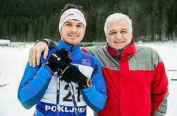 Peter Kauzer jr.  of Slovenian Kayak Canoe National Team with his father Peter at Winter training of Cross country, on January 7, 2015 in Rudno polje, Pokljuka, Slovenia.  Photo by Vid Ponikvar / Sportida