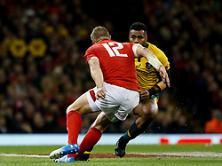 Samu Kerevi of Australia lines up Hadleigh Parkes of Wales<br /> <br /> Photographer Simon King/Replay Images<br /> <br /> Under Armour Series - Wales v Australia - Saturday 10th November 2018 - Principality Stadium - Cardiff<br /> <br /> World Copyright © Replay Images . All rights reserved. info@replayimages.co.uk - http://replayimages.co.uk