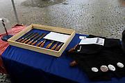 Zijne Majesteit Koning Willem-Alexander en Hare Majesteit Koningin Máxima bezoeken de provincie Zeeland.<br /> <br /> His Majesty King Willem-Alexander and Máxima Her Majesty Queen visits the province of Zeeland<br /> <br /> Op de foto / On the photo:  Aankomst van de Koning en Koningin bij het Prinsenlogement in Middelburg,hierna maakt het paar een wandeling over het Abdijplein met oude ambachten waaronder Garnalen pellen en Maken van paardenmessen <br /> <br /> Arrival of the King and Queen at the Prince Accommodation in Middelburg, below is the couple walk on the Abdijplein with old crafts including Shrimp peeling and Making horse knives