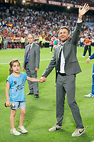 FC Barcelona's coach Luis Enrique Martinez with his daughter during Copa del Rey (King's Cup) Final between Deportivo Alaves and FC Barcelona at Vicente Calderon Stadium in Madrid, May 27, 2017. Spain.<br /> (ALTERPHOTOS/BorjaB.Hojas)