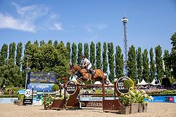 SCHWIZER Pius (SUI), Living The Dream<br /> Berlin - Global Jumping Berlin 2018<br /> CSI5* IDEE Kaffee-Preis<br /> 29. Juli 2018<br /> © www.sportfotos-lafrentz.de/Stefan Lafrentz