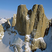 Mount Asgard towers above a glacier in Auyuittuq National Park on Canada's Baffin Island.