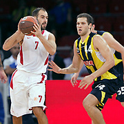 Fenerbahce Ulker's Bojan BOGDANOVIC (R) and Olimpiakos's Vassilis SPANOULIS (L) during their Two Nations Cup basketball match Fenerbahce Ulker between Olimpiakos at Abdi Ipekci Arena in Istanbul Turkey on Saturday 01 October 2011. Photo by TURKPIX