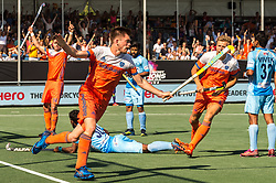 Thierry Brinkman of The Netherlands celebrate his goal during the Champions Trophy match between the Netherlands and India on the fields of BH&BC Breda on June 30, 2018 in Breda, the Netherlands