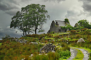 A lonely road leads to the ruins of Molly's Cottage in the Black Valley in Co. Kerry, Ireland.