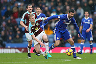 Ben Mee of Burnley and Diego Costa of Chelsea battle for the ball. Premier league match, Burnley v Chelsea at Turf Moor in Burnley, Lancs on Sunday 12th February 2017.<br /> pic by Chris Stading, Andrew Orchard Sports Photography.