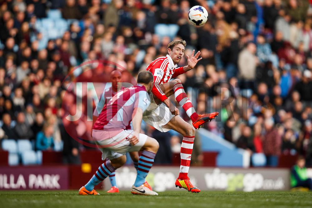 Stoke Forward Peter Crouch (ENG) in action - Photo mandatory by-line: Rogan Thomson/JMP - 07966 386802 - 23/03/2014 - SPORT - FOOTBALL - Villa Park, Birmingham - Aston Villa v Stoke City - Barclays Premier League.