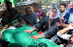 October 13, 2017 - Shopain, Jammu And Kashmir, India - (EDITORS NOTE: Image depicts death.) Funeral processions of Gulzar Ahmed Mir of Alleypora, who was killed during clashes near gunfight at litter area of south Kashmirs Pulwama district on 14th September,2017.Where two Kashmiri Rebels gunned down by security forces (Credit Image: © Aasif Shafi/Pacific Press via ZUMA Wire)