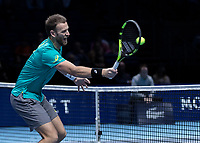 Tennis - 2017 Nitto ATP Finals at The O2 - Day One<br /> <br /> Mens Doubles: Group Eltingh/Haarhus: Henri Kontinen (Finland) & John Peers (Australia) Vs Ryan Harrison (United States) & Michael Venus (Australia)<br /> <br /> Ryan Harrison (United States) close to the net with a return of serve <br /> <br /> COLORSPORT/DANIEL BEARHAM