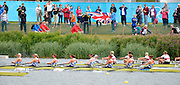 Eton Dorney, Windsor, Great Britain,..2012 London Olympic Regatta, Dorney Lake. Eton Rowing Centre, Berkshire[ Rowing]...Description;   GBR W8+,  Women's Eights Repechage, leaving the start. Crew Olivia WHITLAM, Louisa REEVE, Jessica EDDIE, Lindsey MAGUIRE, Natasha PAGE, Anaabell VERNON, Katie GREVES, Victoria THORNLEY and Cox Caroline O'CONER. Dorney Lake. 10:54:01  Tuesday  31/07/2012 [Mandatory Credit: Peter Spurrier/Intersport Images]  .