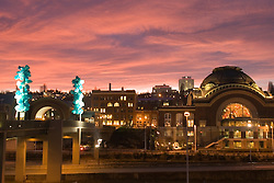 Chihuly Bridge of Glass and Union Station at sunset, Tacoma, Washington, USA