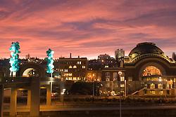 Chihuly Bridge of Glass and Union Station at sunset, Tacoma, Washington, USA