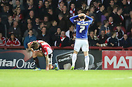 Cardiff City midfielder, Peter Whittingham (7) after a miss during the Sky Bet Championship match between Brentford and Cardiff City at Griffin Park, London, England on 19 April 2016. Photo by Matthew Redman.