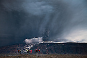 People gathered in Fljótshlíð to observe the erupting volcano in Eyjafjallajökull, May 2010