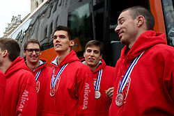 at reception of Slovenian volleyball team with silver medal from 2015 CEV Volleyball European Championship (MEN) Bulgaria / Italy , on October 19, 2015 at Kongresni try, Ljubljana, Slovenia. Photo by Matic Klansek Velej / Sportida