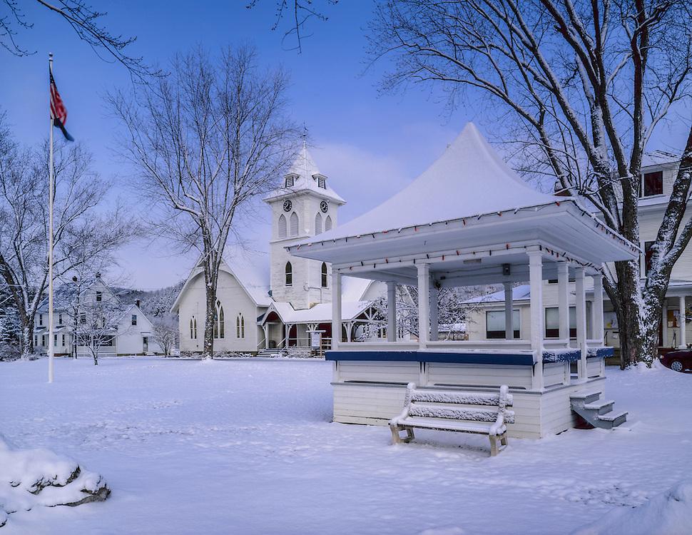 Square gazebo & church with fresh snow, winter town common, Fairlee, VT
