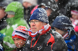 Stoke City supporters in the snow during the Premier League match at the bet365 Stadium, Stoke.