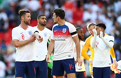 England's Gary Cahill (left) reacts after the final whistle during the International Friendly match at Wembley Stadium, London.