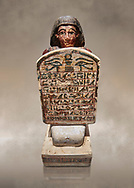 Ancient Egyptian stelophorus statue of Amenemipet, limestone, New Kingdom, 18th Dynasty, (1539-1292 BC), Deir el Medina, tomb of Ibu. Egyptian Museum, Turin. Cat 3038. .<br /> <br /> If you prefer to buy from our ALAMY PHOTO LIBRARY  Collection visit : https://www.alamy.com/portfolio/paul-williams-funkystock/ancient-egyptian-art-artefacts.html  . Type -   Turin   - into the LOWER SEARCH WITHIN GALLERY box. Refine search by adding background colour, subject etc<br /> <br /> Visit our ANCIENT WORLD PHOTO COLLECTIONS for more photos to download or buy as wall art prints https://funkystock.photoshelter.com/gallery-collection/Ancient-World-Art-Antiquities-Historic-Sites-Pictures-Images-of/C00006u26yqSkDOM