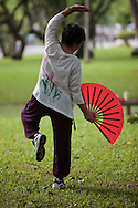 A woman performs Tai Chi Fan in the early evening at Lumpini Park, Bangkok, Thailand