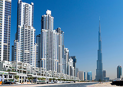 Modern,high-rise apartment buildings and Burj Khalifa tower in Business Bay district of Dubai United Arab Emirates UAE Middle East