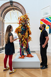 © Licensed to London News Pictures. 15/09/2021. LONDON, UK. ' WOKE UP FROM A DREAM THAT GAVE ME WINGS' by Raúl de Nieves, price £14,700. Preview of the Summer Exhibition 2021 at the Royal Academy of Arts in Piccadilly. Co-ordinated by Yinka Shonibare RA, the exhibition explores the theme of 'Reclaiming Magic' to celebrate the joy of creating art with around 1400 works by emerging and established artists featured in the exhibition.  The Summer Exhibition is the world's largest open submission contemporary art show and has taken place every year without interruption since 1769.  Photo credit: Stephen Chung/LNP