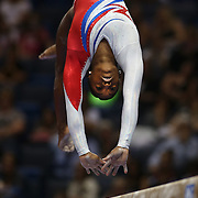 Simone Biles, Spring, Texas, in action on the Balance Beam while winning the All-Round title during the Senior Women Competition at The 2013 P&G Gymnastics Championships, USA Gymnastics' National Championships at the XL, Centre, Hartford, Connecticut, USA. 17th August 2013. Photo Tim Clayton