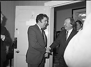 An Taoiseach Meets SDLP Delegation.  (N60)..1981..06.02.1981..02.06.1981..6th February 1981..At Government Buildings ,Leinster House Dublin, An Taoiseach, Mr Charles Haughey, met with a delegation from the SDLP. The delegation was led by Mr John Hume MEP..Image shows An Taoiseach, Charles Haughey TD greeting Mr John Hume MEP leader of the SDLP.