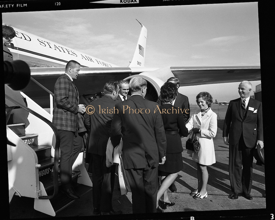 American Astronauts visit Dublin.<br /> 1970.<br /> 13.10.1970.<br /> 10.13.1970.<br /> 13th October 1970.<br /> The Astronauts of the Apollo 13 moon mission visited Ireland as part of a European tour. James Lovell, John Swigert and Fred Haise were on a planned landing on the lunar surface ,when two day after blast off on 11 April 1970 an explosion aboard the craft resulted in one of the most amazing missions in the Apollo series. The explosion placed the crew in severe danger and it was only through much skill and courage that the astronauts managed to make emergency repairs to enable them to return home. Up until they returned on 17th April the world held its breath as the astronauts fought their way back to Earth.<br /> <br /> Image shows the Apollo 13 astronauts being met by dignitaries on the tarmac at Dublin Airport.